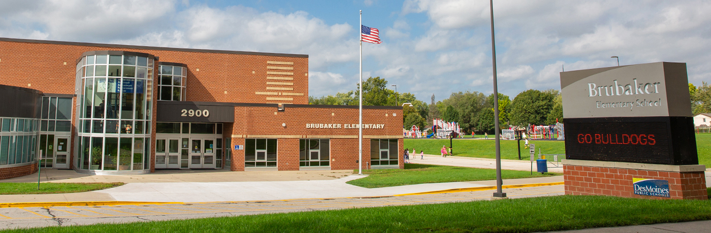 Brubaker school building and signage